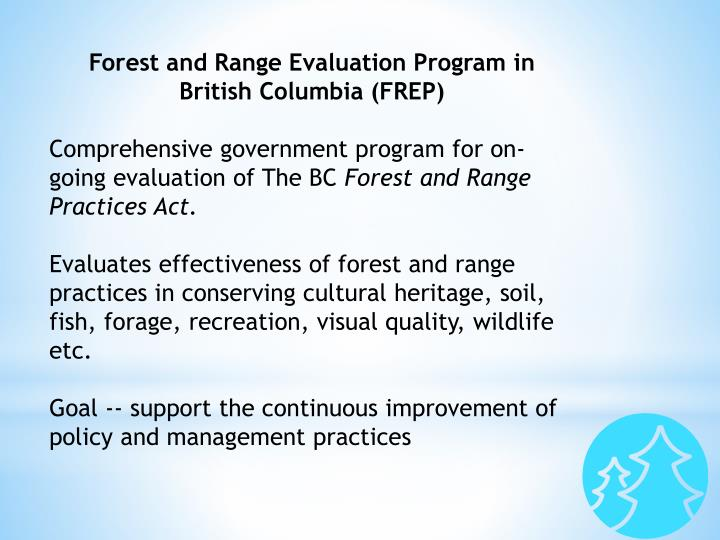 Forest and Range Evaluation Program in British Columbia (FREP