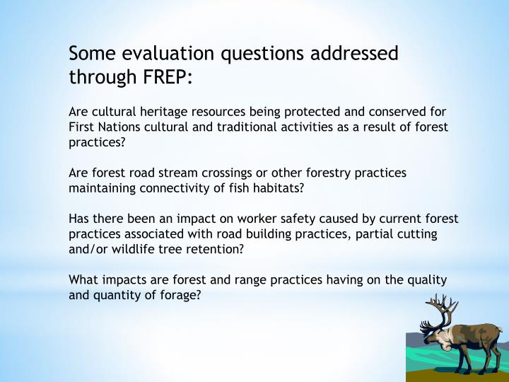 Some evaluation questions addressed through FREP: