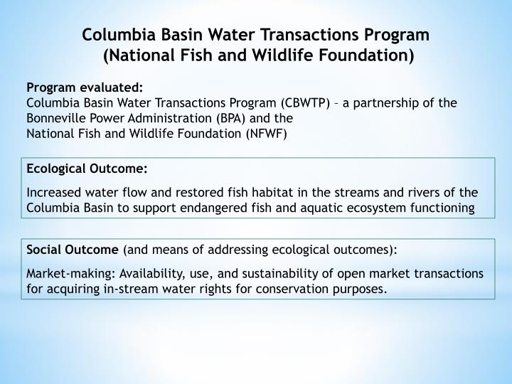 Columbia Basin Water Transactions