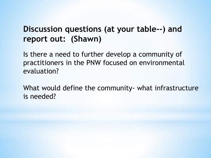 Discussion questions (at your table--) and report out:  (Shawn)