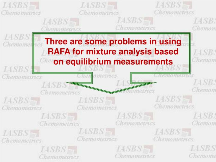 Three are some problems in using RAFA for mixture analysis based on equilibrium measurements
