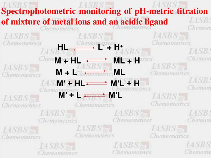 Spectrophotometric monitoring of pH-metric titration of mixture of metal ions and an acidic ligand