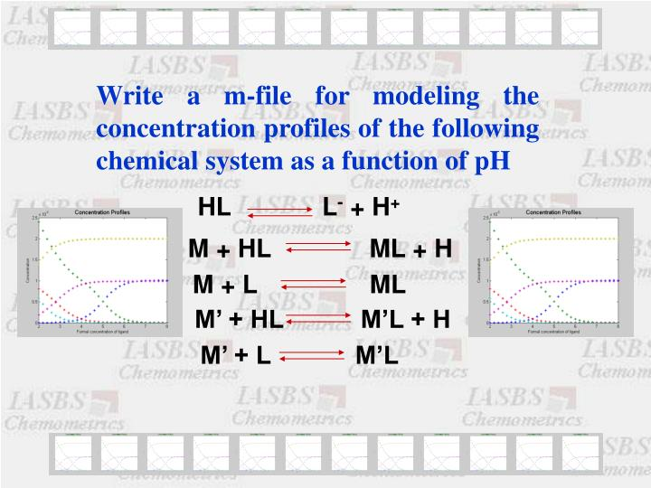 Write a m-file for modeling the concentration profiles of the following chemical system as a function of pH