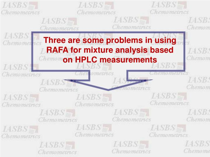 Three are some problems in using RAFA for mixture analysis based on HPLC measurements