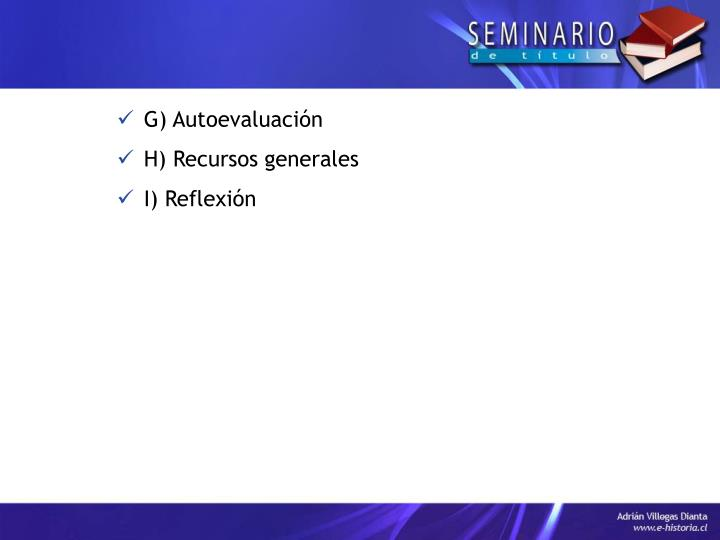 G) Autoevaluación