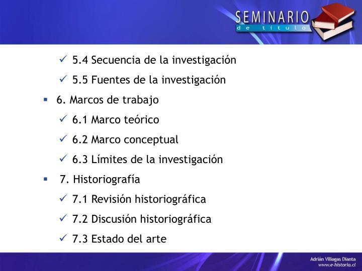 5.4 Secuencia de la investigación