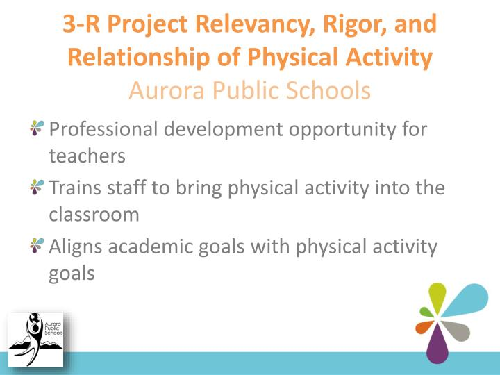 3-R Project Relevancy, Rigor, and Relationship of Physical Activity