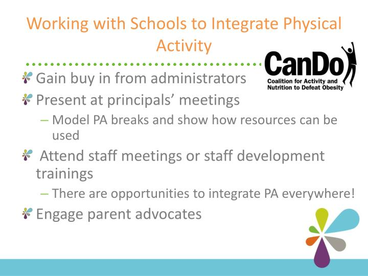 Working with Schools to Integrate Physical Activity