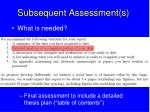 subsequent assessment s