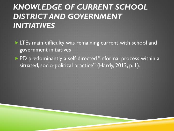 Knowledge of current school district and government initiatives