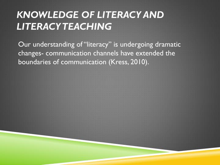 Knowledge of literacy and literacy teaching