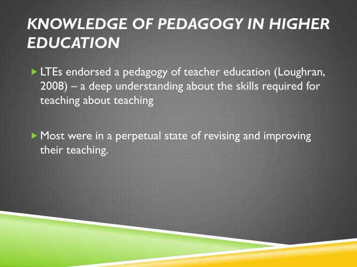 Knowledge of pedagogy in higher education
