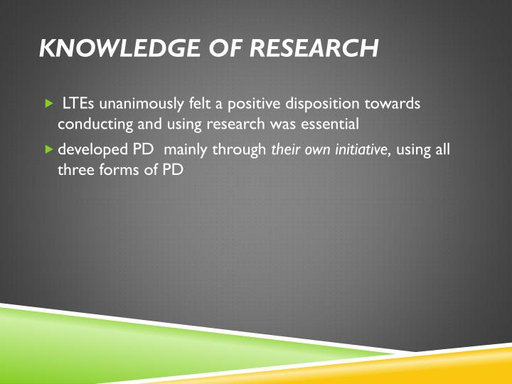 Knowledge of research