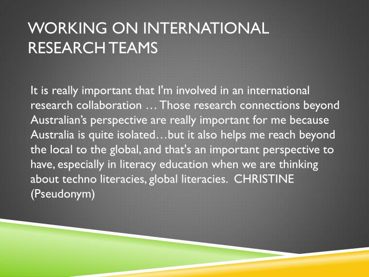 Working on International Research Teams