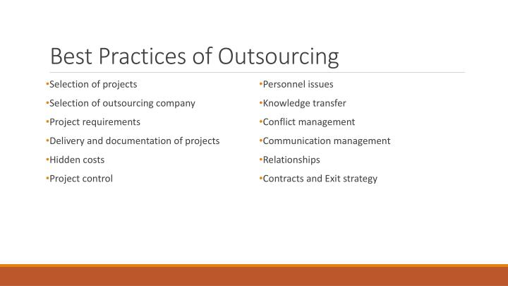 Best Practices of Outsourcing