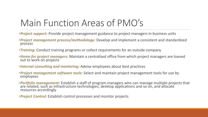 Main Function Areas of PMO's