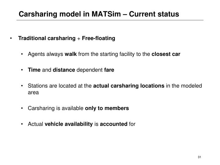 Carsharing model in MATSim – Current status