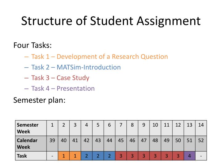 Structure of Student Assignment