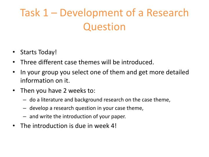 Task 1 – Development of a Research Question