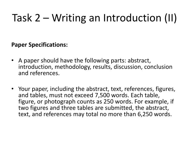 Task 2 – Writing an Introduction (II)