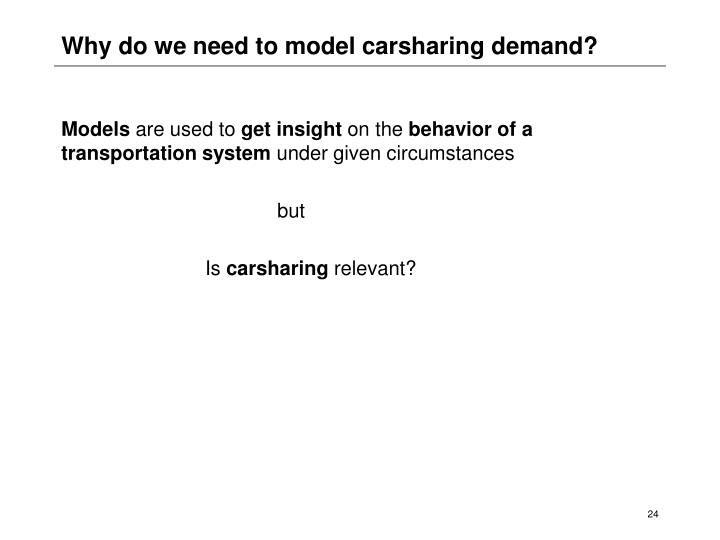 Why do we need to model carsharing demand?