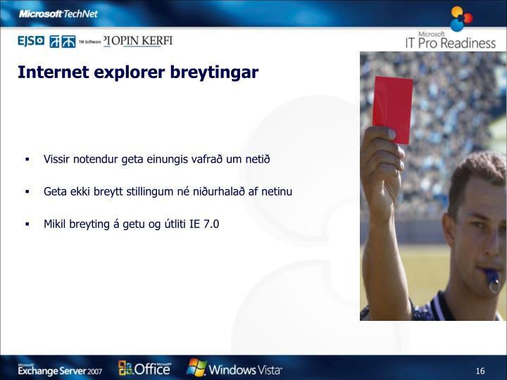 Internet explorer breytingar