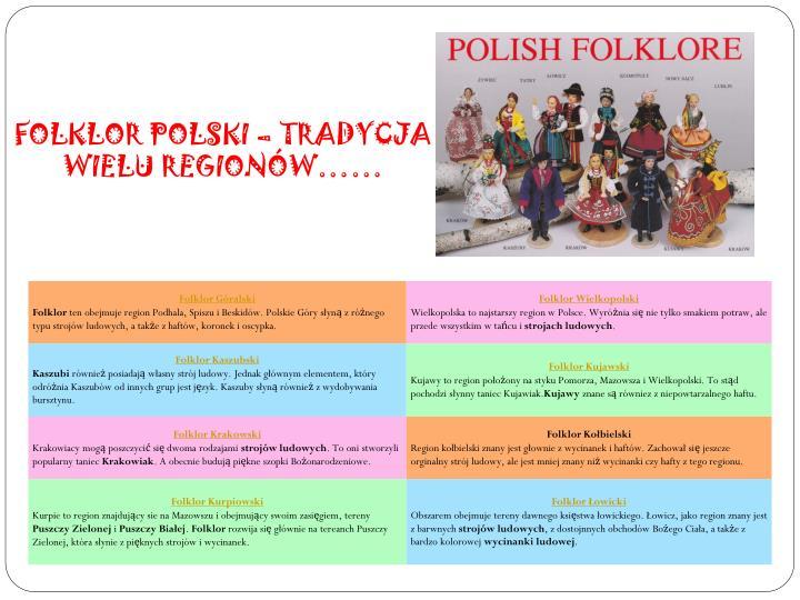 FOLKLOR POLSKI – TRADYCJA WIELU REGIONÓW……