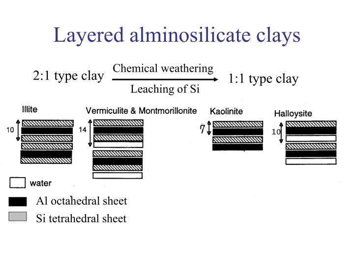 Layered alminosilicate clays
