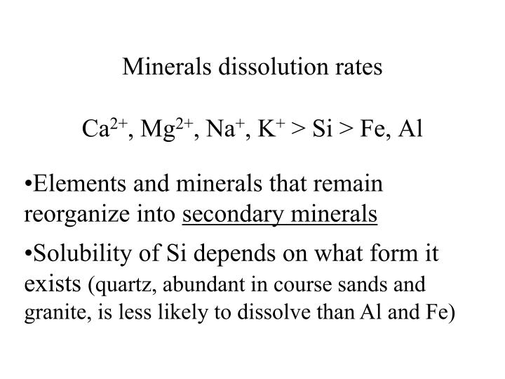 Minerals dissolution rates