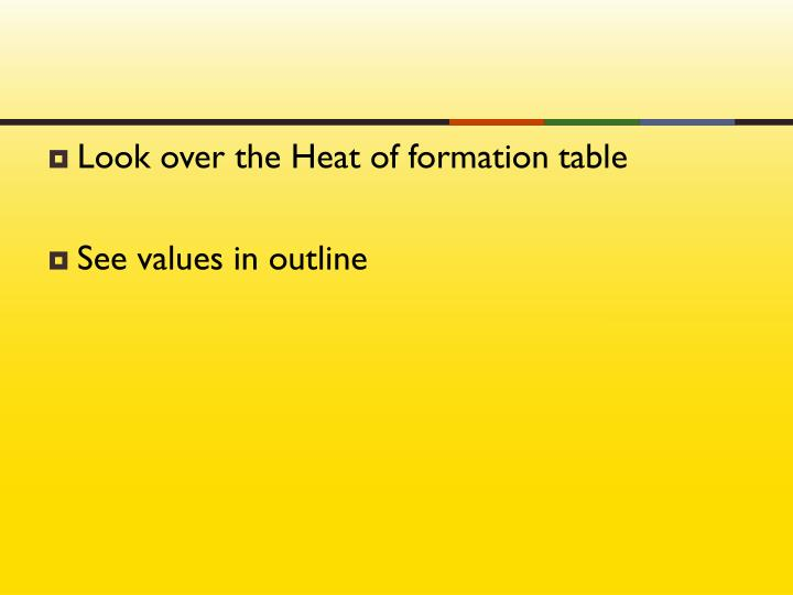 Look over the Heat of formation table