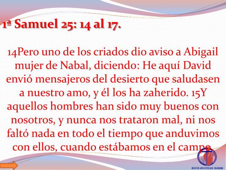 1 Samuel 25: 14 al 17.