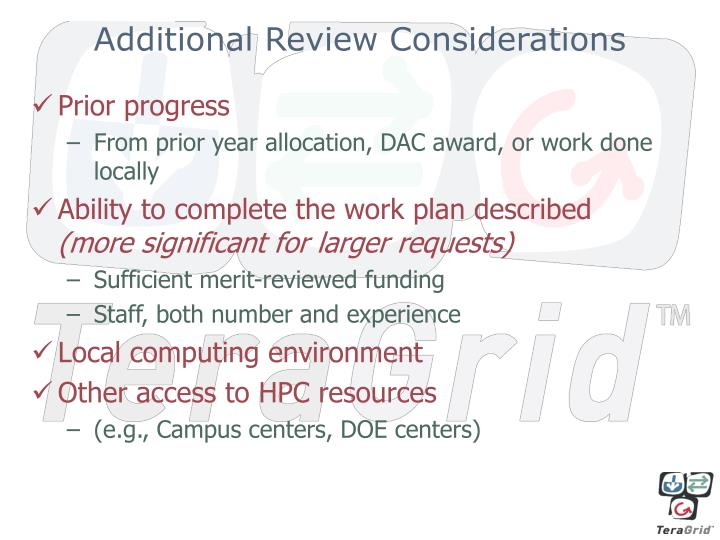 Additional Review Considerations