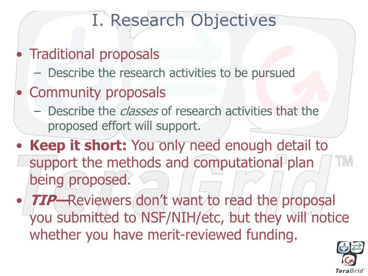 I. Research Objectives