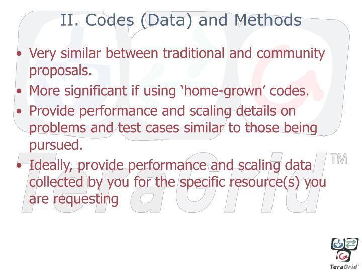 II. Codes (Data) and Methods