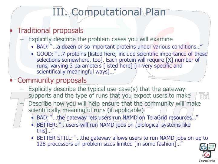III. Computational Plan