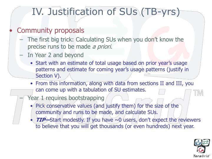 IV. Justification of SUs (TB-yrs)