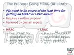 the process going mrac or lrac