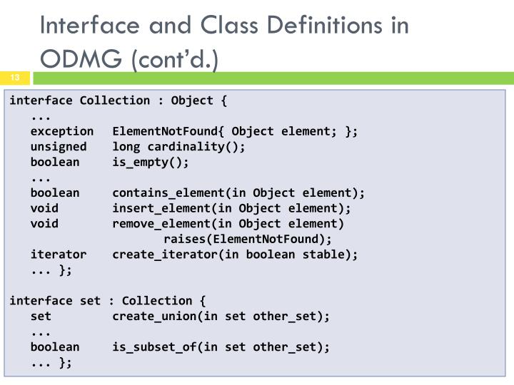 Interface and Class Definitions in ODMG (cont'd.)