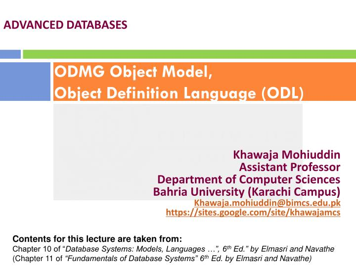 Odmg object model object definition language odl
