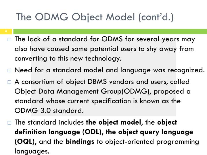 The ODMG Object Model (cont'd.)
