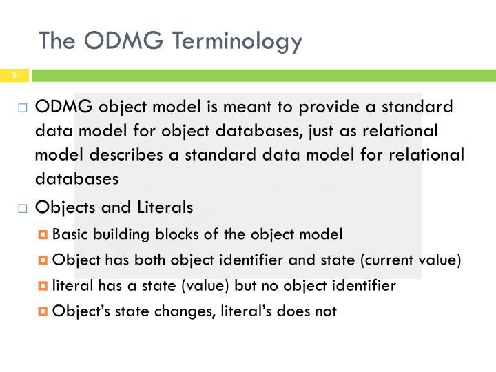 The ODMG Terminology