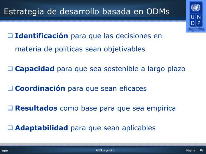 Estrategia de desarrollo basada en ODMs