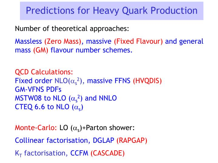 Predictions for Heavy Quark Production