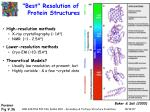 best resolution of protein structures