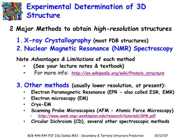 Experimental Determination of 3D Structure