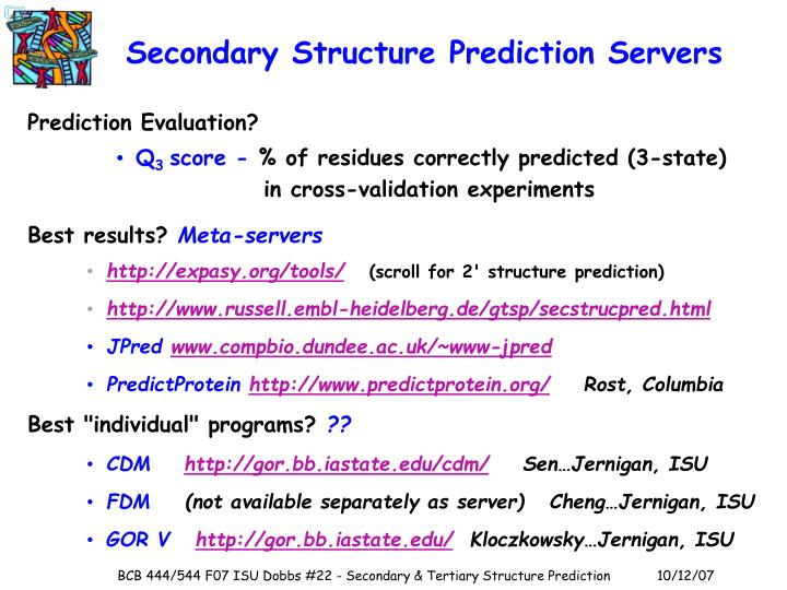 Secondary Structure Prediction Servers