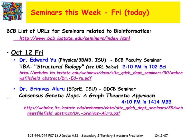 Seminars this Week - Fri (today)