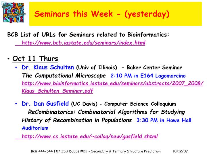 Seminars this Week - (yesterday)