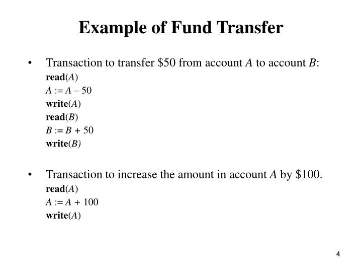 Example of Fund Transfer