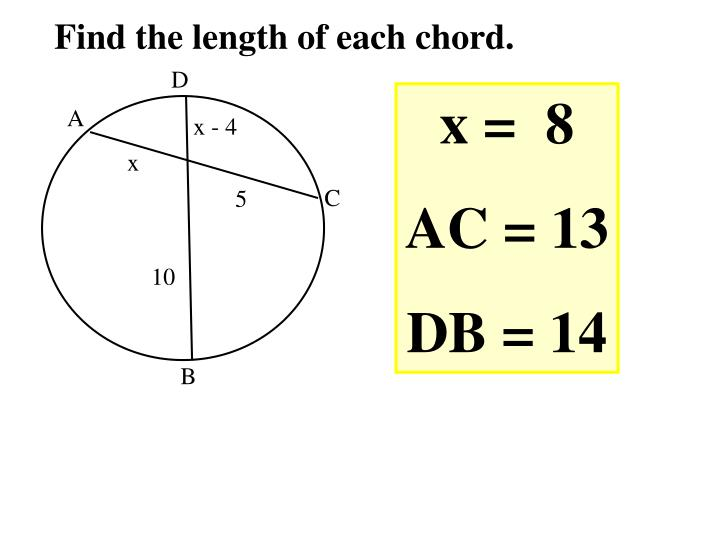 Find the length of each chord.